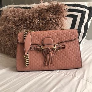 Authentic Gucci Emily Guccissima Pink Handbag